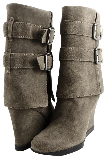 Item - Mouse Grey Dale Suede Buckled Wedge Boots/Booties Size US 6 Regular (M, B)