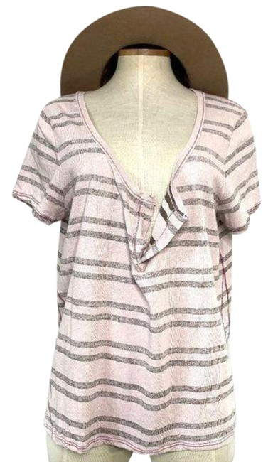 Item - Pink Brown & Striped Sleeve Tee Shirt Size 12 (L)