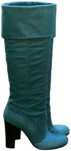 Miss Sixty Leather Leather Cuff Stacked Heel Knee High Green Boots