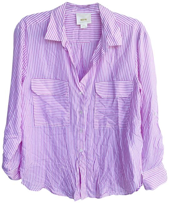 Item - Pink Maeve Viscose Striped Button Long Sleeve Pocket Button-down Top Size Petite 8 (M)