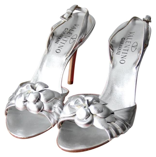 Valentino Silver Rose Sandals Size EU 39 (Approx. US 9) Regular (M, B) Valentino Silver Rose Sandals Size EU 39 (Approx. US 9) Regular (M, B) Image 1