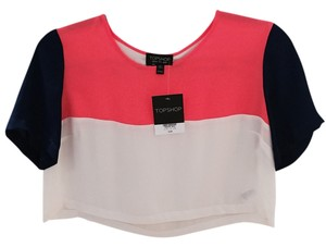 Topshop Crop Top White, Blue, Neon Pink