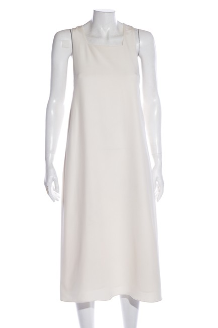 Item - Off White Silk Crepe Mid-length Cocktail Dress Size 6 (S)