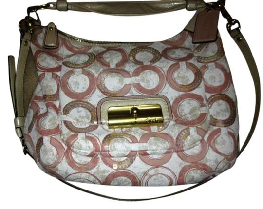 Coach Signature Fabric With Leather Trim Inside Zip Cell Phone And Multifunction Pockets Zip-top Closure Fabric Lining Outside Shoulder Bag