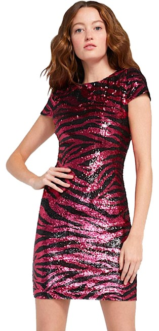 Item - Pink/Black with Tag Nat Zebra Sequin Cap-sleeve Sheath Short Cocktail Dress Size 10 (M)