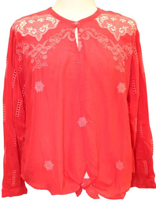 Item - Red Embroidered Heidine Tie Blouse Xxl Tunic Size 20 (Plus 1x)