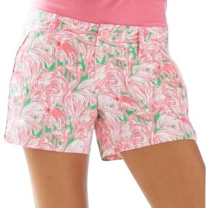 Lilly Pulitzer Flamingo Print Summer And Green Cute Mini/Short Shorts Pink