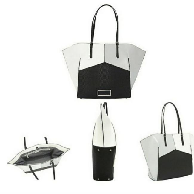 Item - Large Black Gray and White Faux Leather Tote