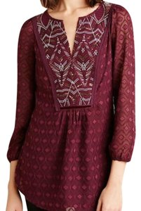 one.september Anthro Anthropologie Peasant Embroidered Boho Top Burgundy