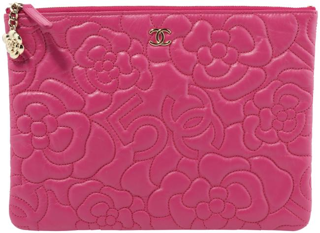 Item - Camellia Embossed Pink Lambskin Leather Clutch