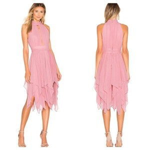 Michael Costello Revolve Handkerchief Chiffon Ruched Cutout Dress