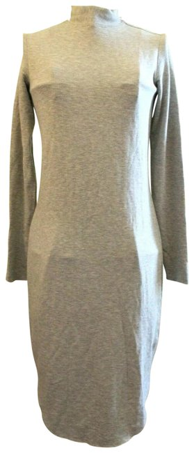 Item - Gray Warm All Over Tunic Sweater Mid-length Short Casual Dress Size 4 (S)