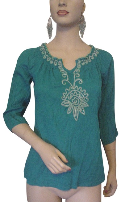 Item - Teal With White Embroidery Peasant Smocked Neckline S Blouse Size 4 (S)