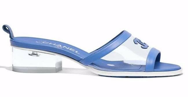 Item - Blue 19s Transparent Lambskin Pvc Cc Logo Mule Slide Block Heel 41c Sandals Size EU 41 (Approx. US 11) Wide (C, D)