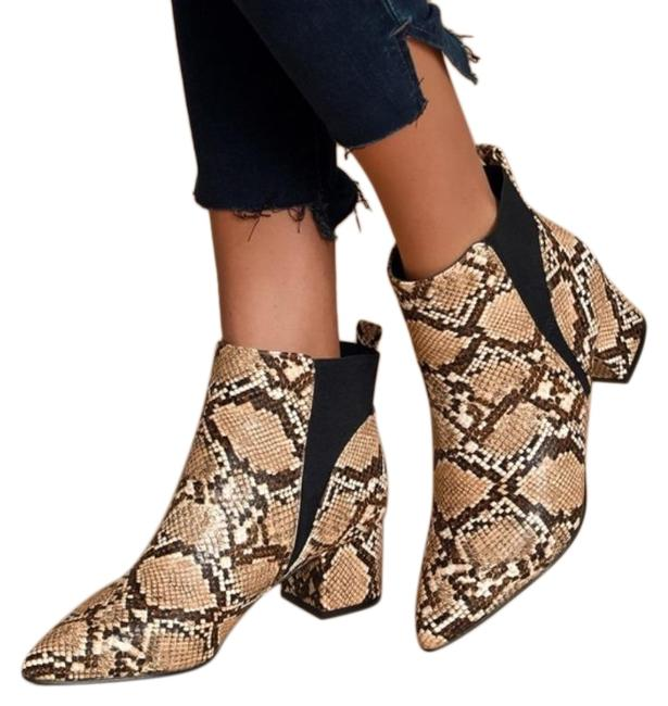 Item - Tan Black Snake Print Pointed Toe Ankle Boots/Booties Size US 7 Regular (M, B)