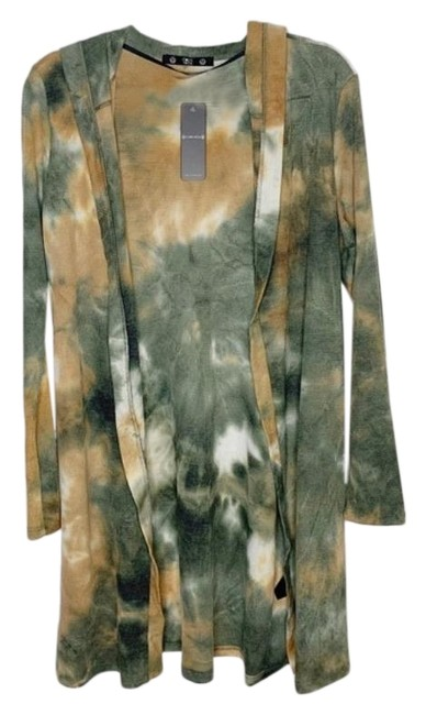 Item - Green Brown Tie-dye Oversized Open Front Cardigan Size 12 (L)