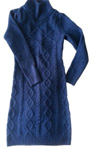 Moda International short dress Blue Sweater Comfortable Cable Knit Neck Flattering Slimming on Tradesy