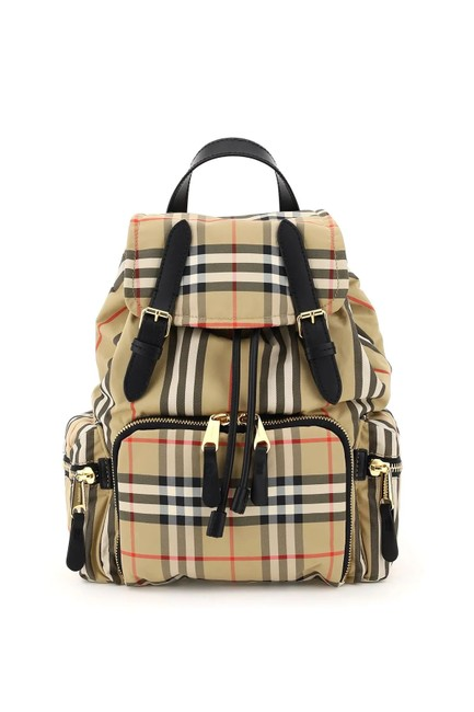 Item - Cr Vintage Check Rucksack Large Beige Nylon Backpack