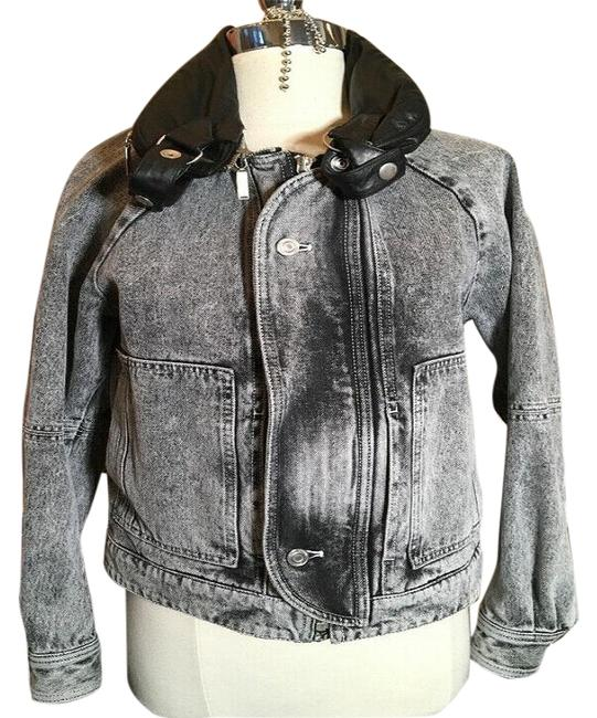 Item - Gray and Black & Leather Trim Jacket Size 4 (S)