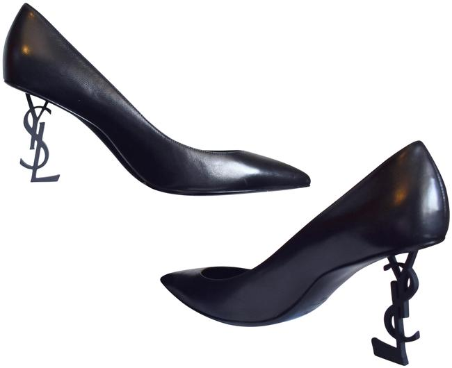 Item - Black Opyum 85 Ysl Logo Heel Pumps Size EU 40 (Approx. US 10) Narrow (Aa, N)