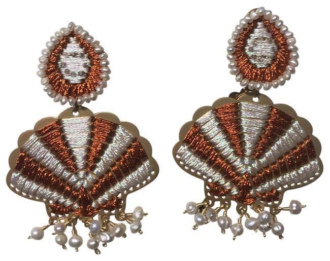Item - Orange White Gold Shell Earrings