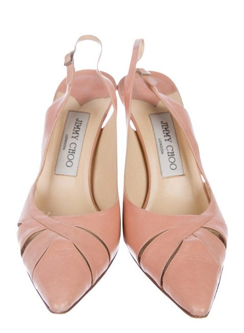 Item - Pink Leather Pointed Toe Sandals Pumps Size US 7 Regular (M, B)