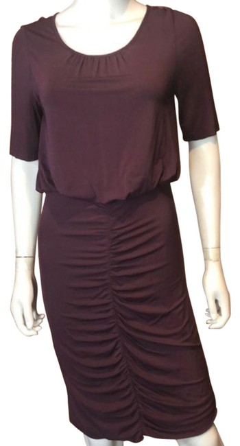 Item - Purple Eggplant Cinched Mid-length Short Casual Dress Size 6 (S)