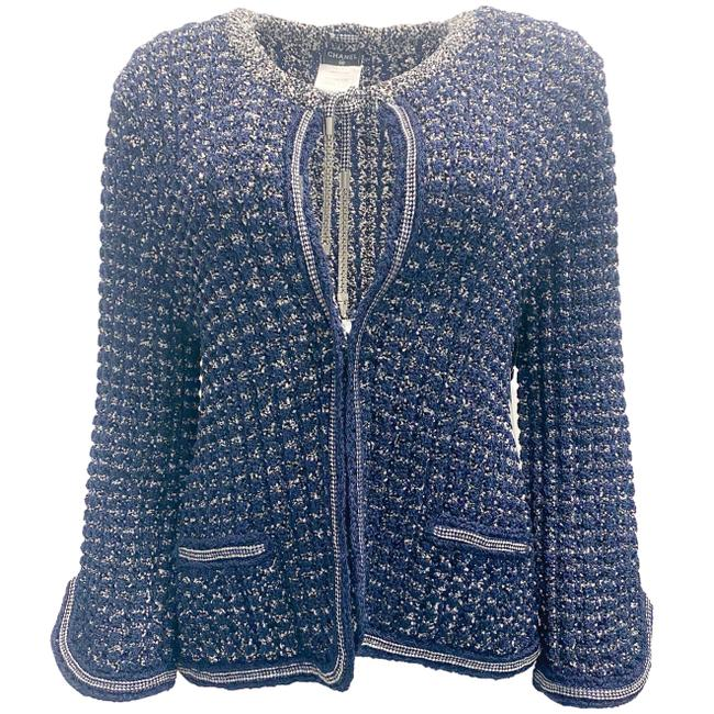 Item - Navy and White Knit Open Jacket Size 14 (L)