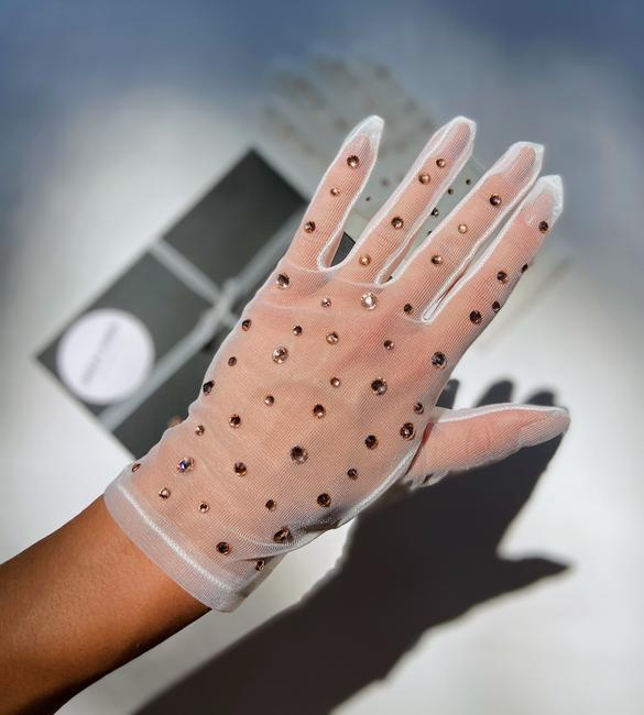 Item - Beige Women's Mesh Sheer Rhinestones Sunscreen Opera Gloves