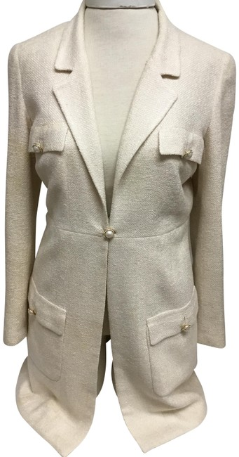 Item - Beige Raw Silk Long with Pearl Buttons Jacket Size 6 (S)