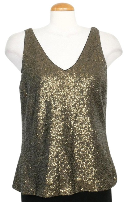 Item - Burnished Gold Double V Sequin Sleeveless Shell Blouse Size 12 (L)
