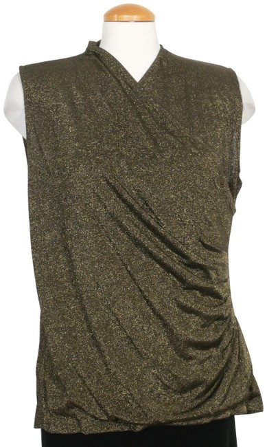 Item - Burnished Gold XL Metallic Knit Surplice Sleeveless Shell Blouse Size 16 (XL, Plus 0x)