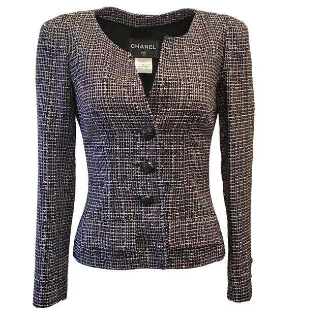 Item - Navy / Pink / Silver Tweed Blazer Size 4 (S)