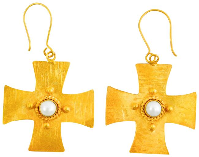 Gold Hammered Cross W/ Pearl Inset #131-269 Earrings Gold Hammered Cross W/ Pearl Inset #131-269 Earrings Image 1