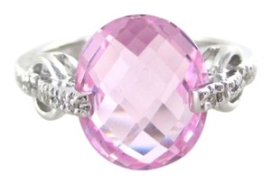 14KT SOLID WHITE GOLD RING 18 DIAMONDS .18 CARAT SZ 7 PINK STONE 4.9 GRAMS BAND