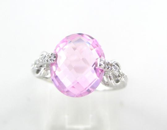 Other 14KT SOLID WHITE GOLD RING 18 DIAMONDS .18 CARAT SZ 7 PINK STONE 4.9 GRAMS BAND