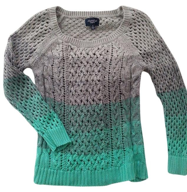 Other Ombre Aqua Knit Casual Scoop Neck Gray Comfortable Sweater