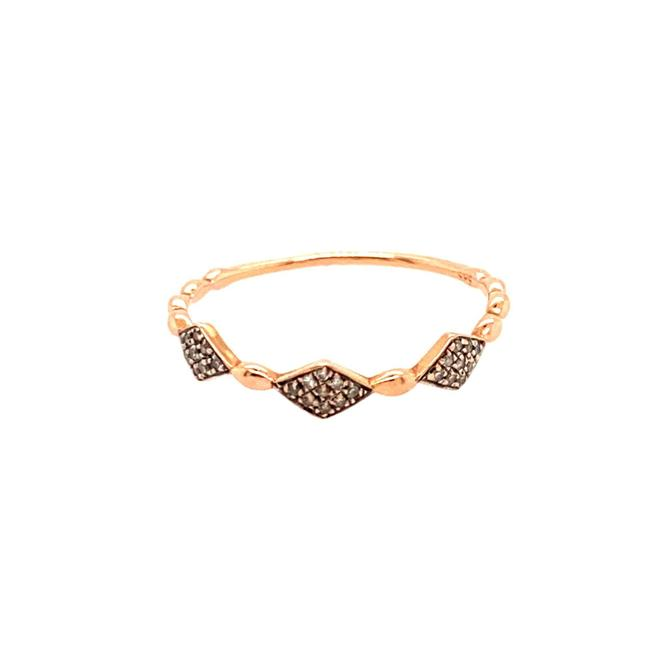 Unbranded Pink 14k Rose Gold Thin Band Pave Diamonds Ring Unbranded Pink 14k Rose Gold Thin Band Pave Diamonds Ring Image 1
