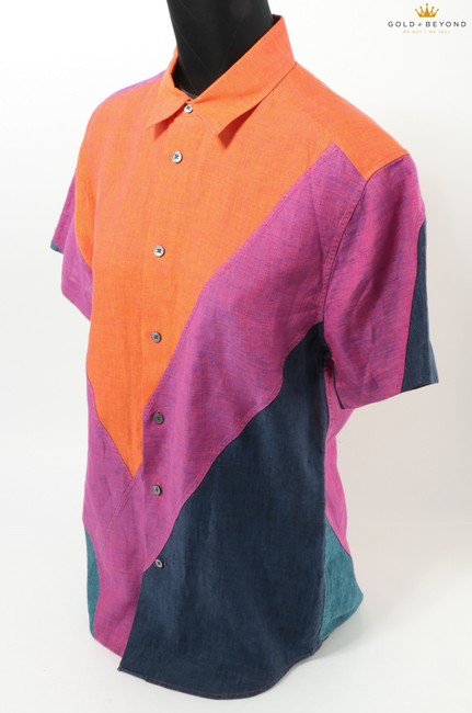 Item - Orange/Purple/Blue Men's Buttoned Shirt
