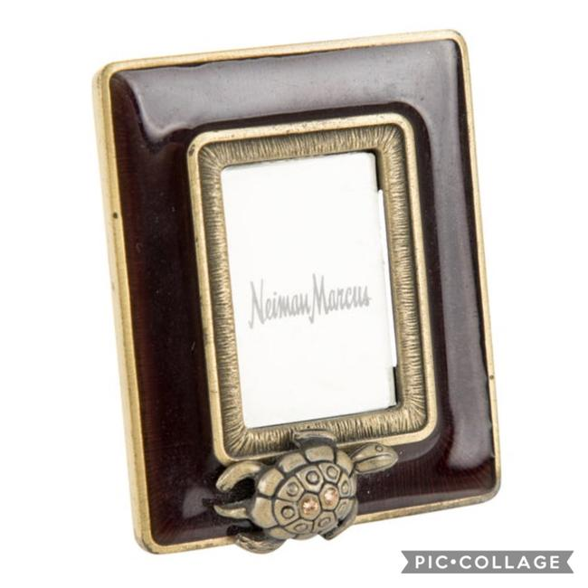 Jay Strongwater Brown Enamel + Brass Strongwater/Neimans Mini Picture Frame Jay Strongwater Brown Enamel + Brass Strongwater/Neimans Mini Picture Frame Image 1