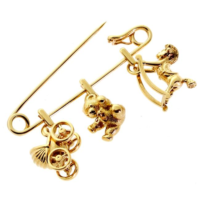 Item - Yellow Gold Safety Pin Brooch 330