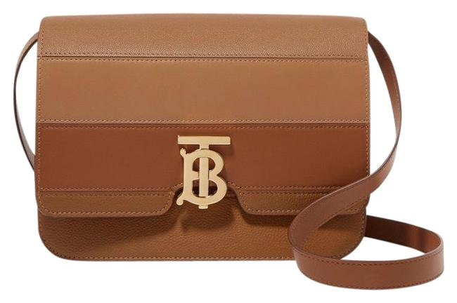Burberry Medium Paneled Smooth and Textured-leather Maple Shoulder Bag Burberry Medium Paneled Smooth and Textured-leather Maple Shoulder Bag Image 1