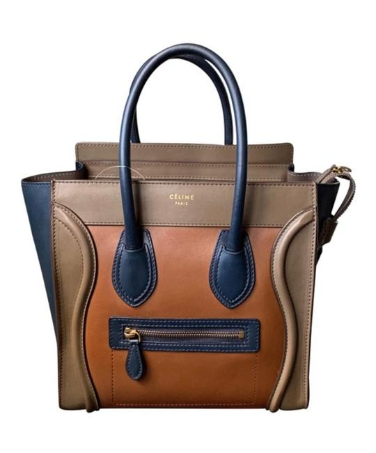 Item - Luggage Micro Tote Tricolor Navy Blue Olive Camel Brown Leather Satchel