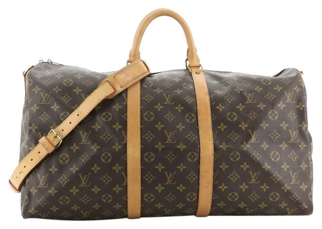 Louis Vuitton Keepall Bandouliere Monogram 55 Brown Coated Canvas Satchel Louis Vuitton Keepall Bandouliere Monogram 55 Brown Coated Canvas Satchel Image 1