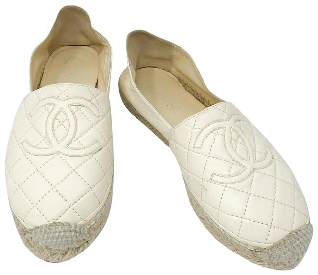 Chanel White Lambskin Quilted Cc Espadrilles Flats Size EU 36 (Approx. US 6) Regular (M, B) Chanel White Lambskin Quilted Cc Espadrilles Flats Size EU 36 (Approx. US 6) Regular (M, B) Image 1