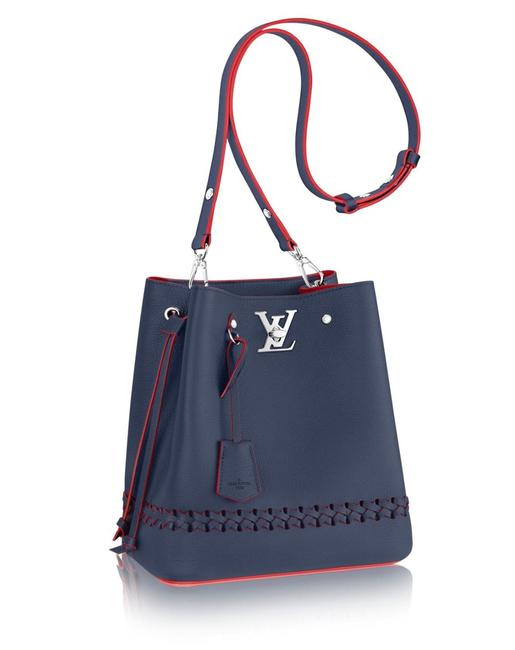 Louis Vuitton Lockme Bucket Blue M54681 Navy Red Calfskin Shoulder Bag Louis Vuitton Lockme Bucket Blue M54681 Navy Red Calfskin Shoulder Bag Image 1