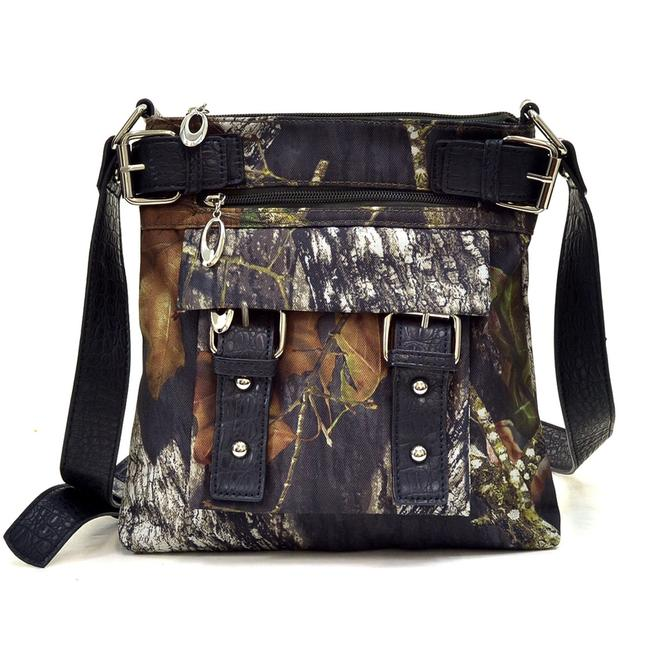 Realtree Camo with Croco Camouflage Fabric / Faux Leather Trim Messenger Bag Realtree Camo with Croco Camouflage Fabric / Faux Leather Trim Messenger Bag Image 1