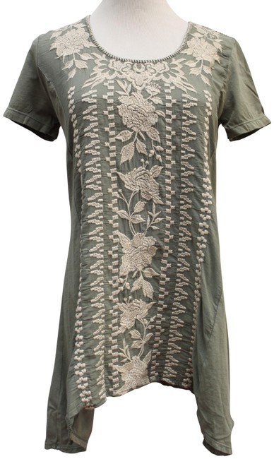 Item - Green Letty Woven Embroidered Blouse Tunic Size 2 (XS)