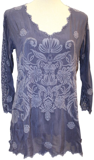 Item - Blue Gray Kussi Embroidered Blouse Tunic Size 2 (XS)