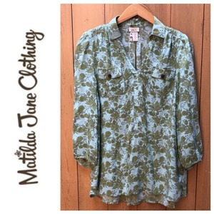 Matilda Jane Button Down Shirt light green and a dusty blue color.